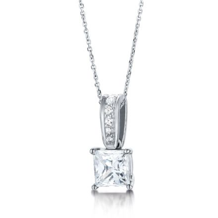 18ct White Gold  G, VS Diamond four round claw pendant with princess cut centre stone